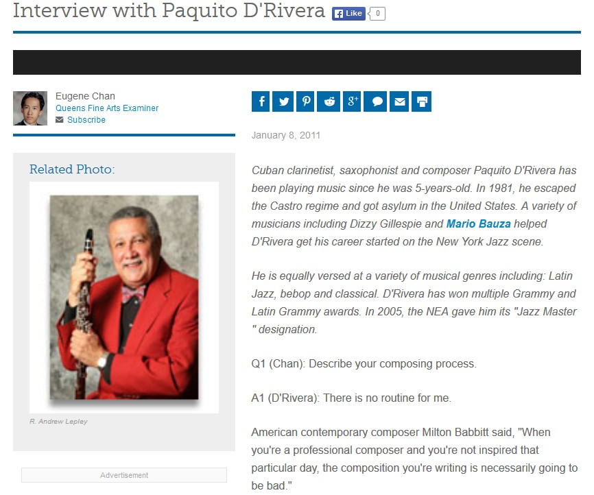 Interview mit Paquito D'Rivera